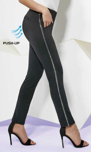 Fekete női push-up nadrág, oldalán fém pánttal