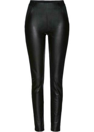 Modern női hosszú fekete hosszú műbőr leggings
