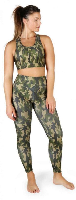 Női zöld terepszínű leggings Bodyboo magas derekú női leggings
