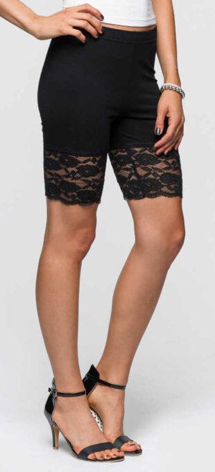 Rövid nyári leggings csipkével két csomag fekete és fehér