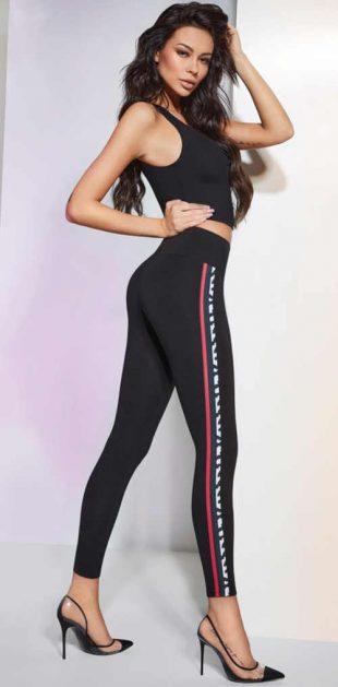 Divatos leggings hosszú szárral és kontrasztos csíkkal az oldalán