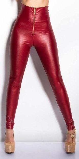 Piros műbőr leggings magas derékkal