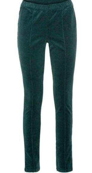 Stílusos kordbársony leggings petrol zöld színben